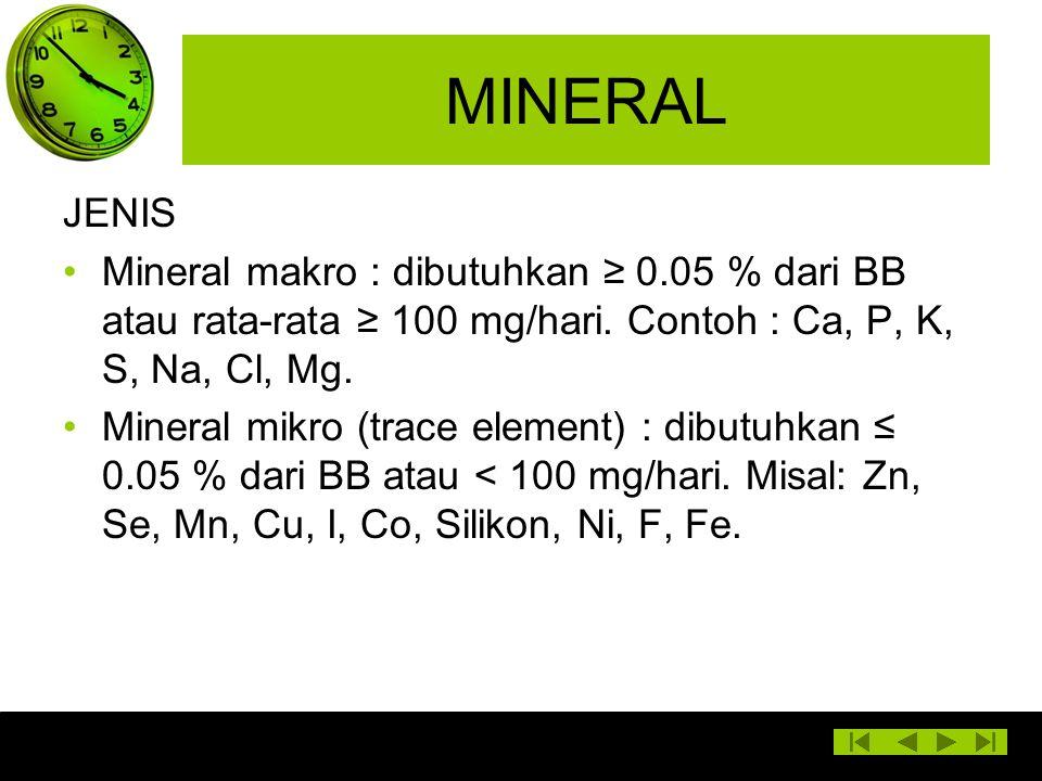 MINERAL JENIS Mineral makro : dibutuhkan ≥ 0.05 % dari BB atau rata-rata ≥ 100 mg/hari. Contoh : Ca, P, K, S, Na, Cl, Mg. Mineral mikro (trace element