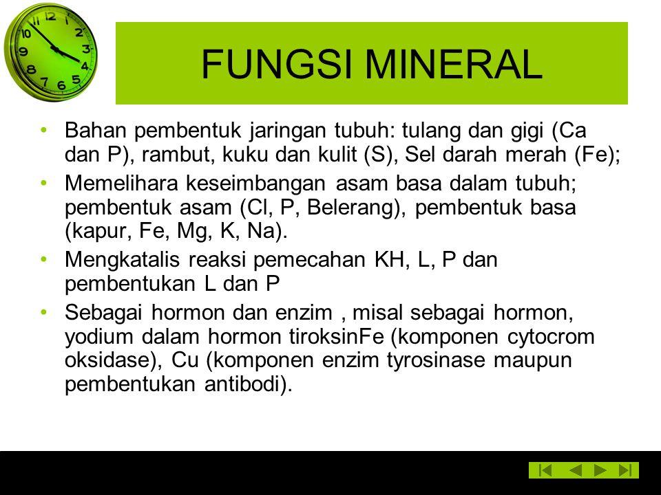 FUNGSI MINERAL Bahan pembentuk jaringan tubuh: tulang dan gigi (Ca dan P), rambut, kuku dan kulit (S), Sel darah merah (Fe); Memelihara keseimbangan a
