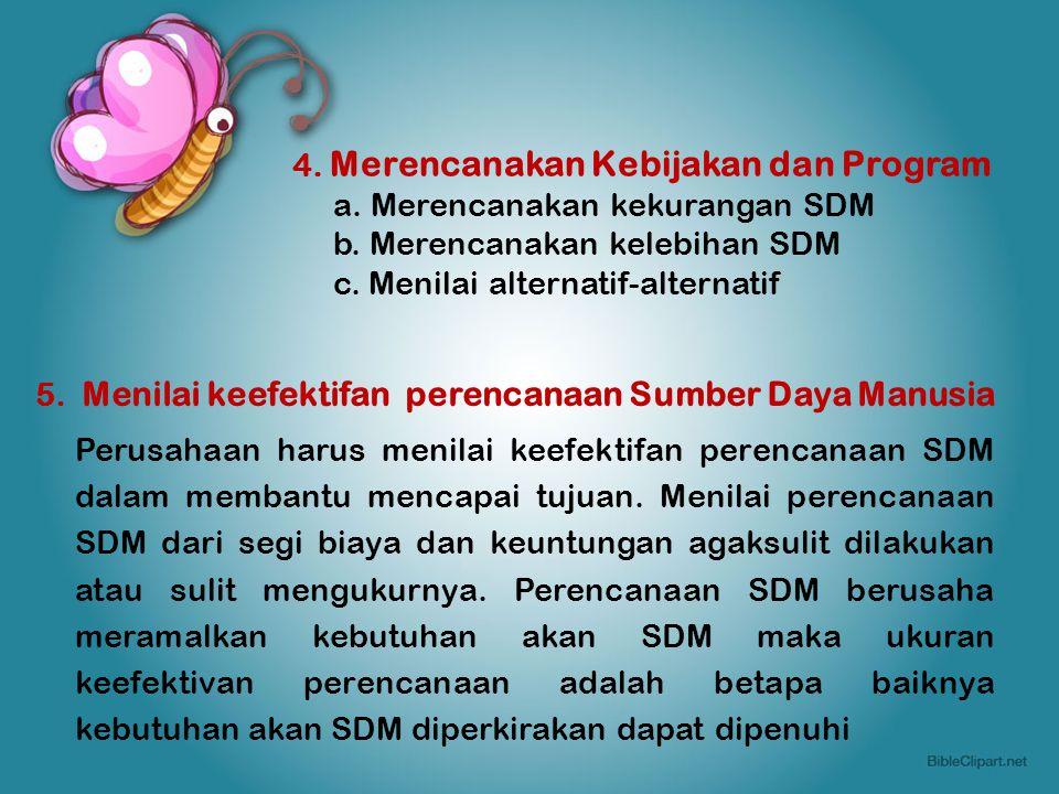 4. Merencanakan Kebijakan dan Program a. Merencanakan kekurangan SDM b. Merencanakan kelebihan SDM c. Menilai alternatif-alternatif 5. Menilai keefekt