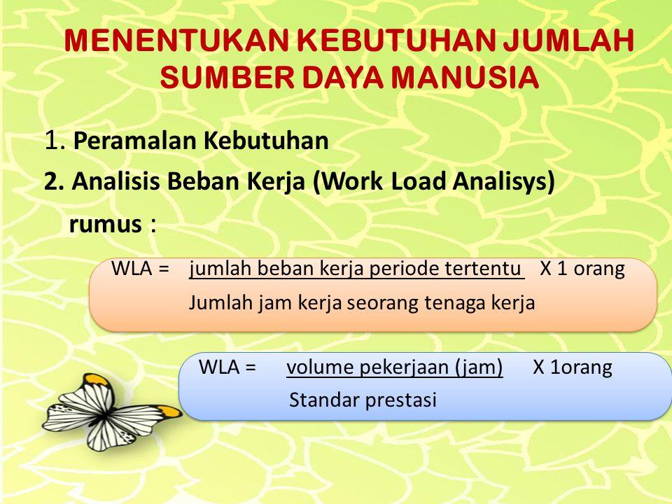 1. Peramalan Kebutuhan 2. Analisis Beban Kerja (Work Load Analisys) rumus : WLA = jumlah beban kerja periode tertentu X 1 orang Jumlah jam kerja seora