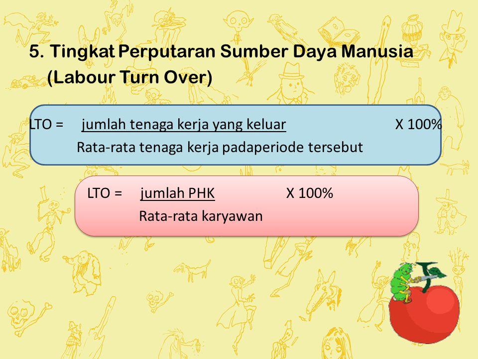 5. Tingkat Perputaran Sumber Daya Manusia (Labour Turn Over) LTO = jumlah tenaga kerja yang keluar X 100% Rata-rata tenaga kerja padaperiode tersebut