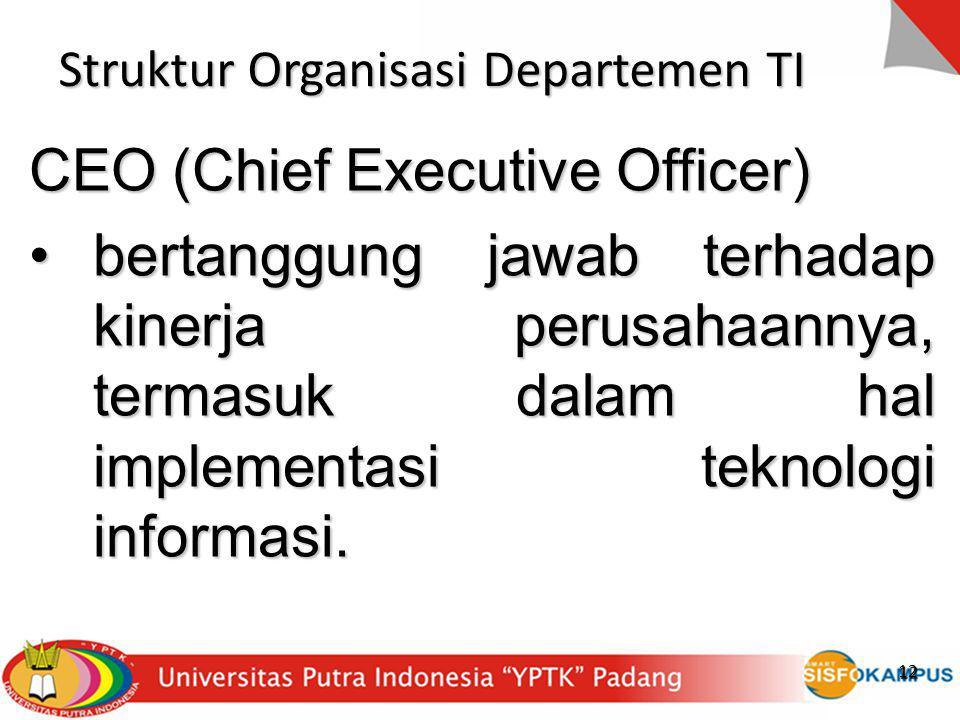 12 Struktur Organisasi Departemen TI CEO (Chief Executive Officer) bertanggung jawab terhadap kinerja perusahaannya, termasuk dalam hal implementasi t