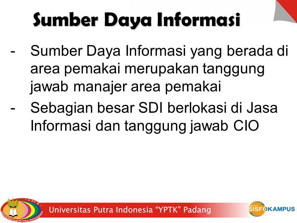 Sumber Daya Informasi -Sumber Daya Informasi yang berada di area pemakai merupakan tanggung jawab manajer area pemakai -Sebagian besar SDI berlokasi d