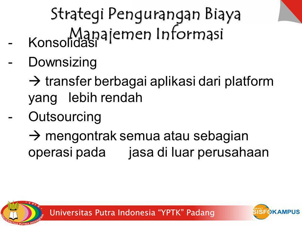 Strategi Pengurangan Biaya Manajemen Informasi -Konsolidasi -Downsizing  transfer berbagai aplikasi dari platform yang lebih rendah -Outsourcing  me