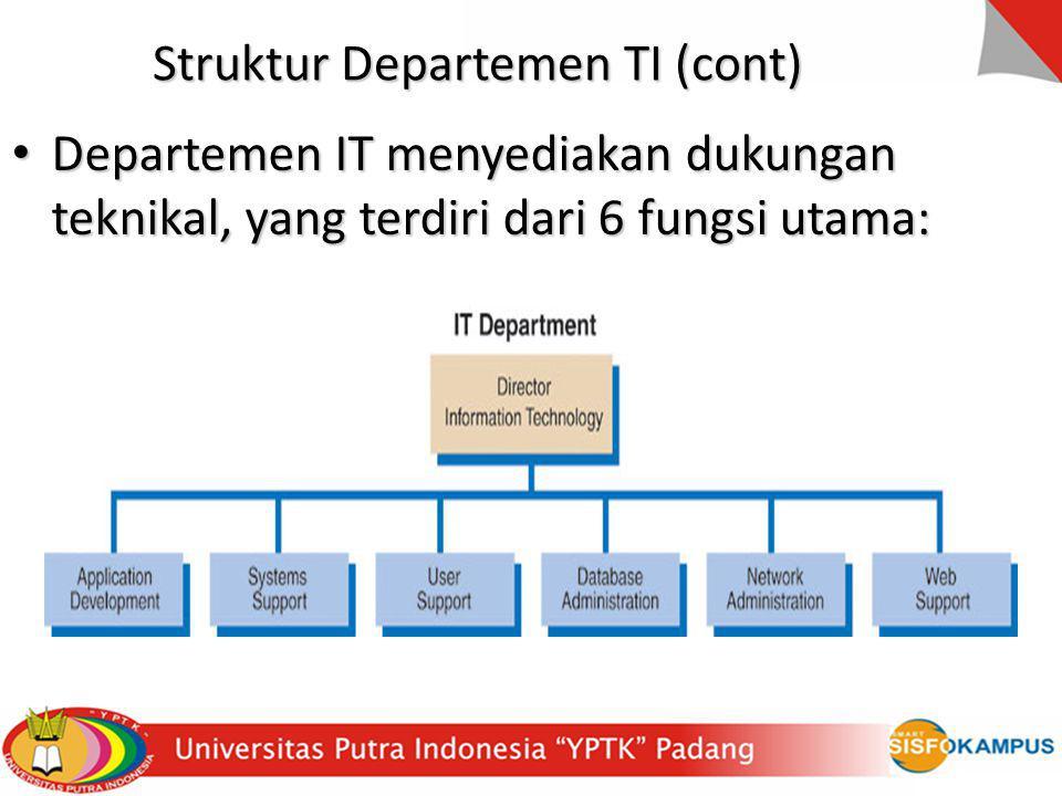 Departemen IT menyediakan dukungan teknikal, yang terdiri dari 6 fungsi utama: Departemen IT menyediakan dukungan teknikal, yang terdiri dari 6 fungsi