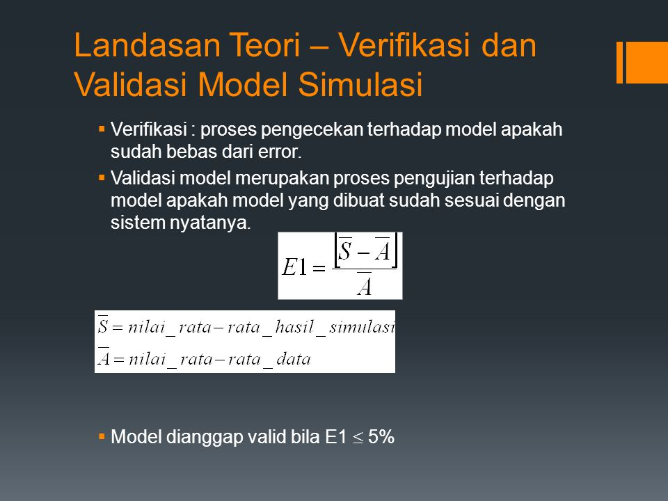 Landasan Teori – Verifikasi dan Validasi Model Simulasi  Verifikasi : proses pengecekan terhadap model apakah sudah bebas dari error.  Validasi mode