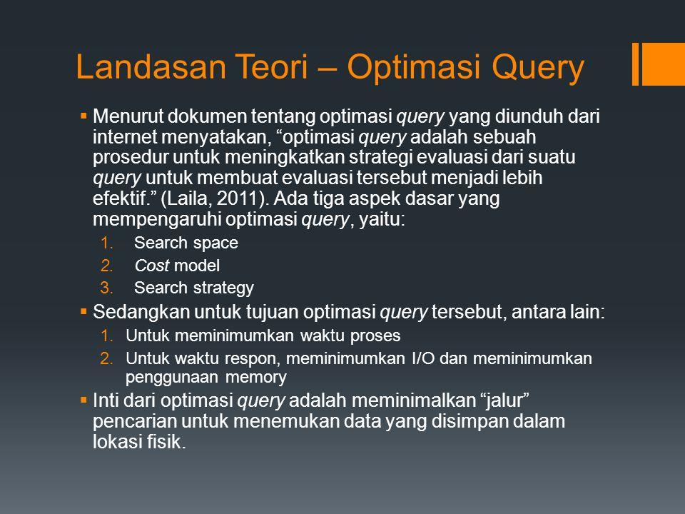 """Landasan Teori – Optimasi Query  Menurut dokumen tentang optimasi query yang diunduh dari internet menyatakan, """"optimasi query adalah sebuah prosedur"""
