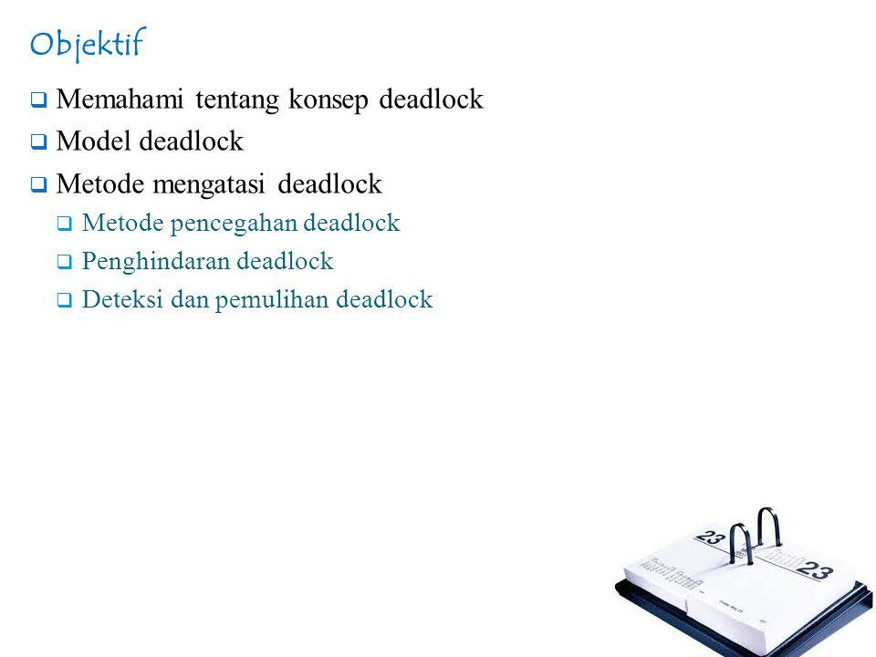 Metode Mengatasi Deadlock  Kriteria pemilihan proses yang akan disingkirkan (suspend/kill) :  waktu pemrosesan yang dijalankan paling kecil  jumlah baris keluaran yang diproduksi paling kecil  mempunyai estimasi sisa waktu eksekusi terbesar  jumlah total sumber daya terkecil yang telah dialokasikan  prioritas terkecil.