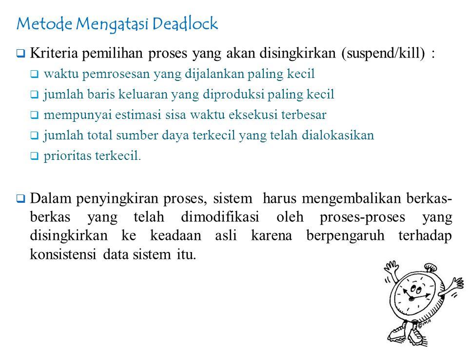 Metode Mengatasi Deadlock  Kriteria pemilihan proses yang akan disingkirkan (suspend/kill) :  waktu pemrosesan yang dijalankan paling kecil  jumlah