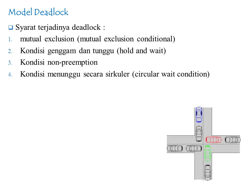 Model Deadlock  Terjadi deadlock bila terdapat ketiga kondisi itu, tetapi adanya ketiga kondisi itu belum berarti terjadi deadlock.