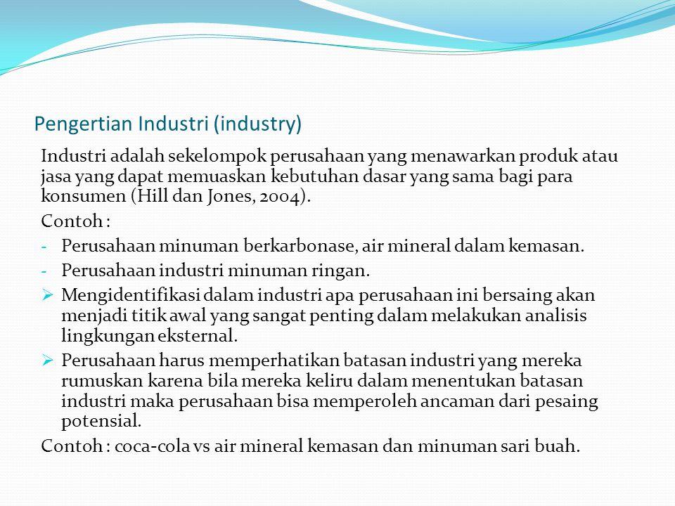 Pengertian Industri (industry) Industri adalah sekelompok perusahaan yang menawarkan produk atau jasa yang dapat memuaskan kebutuhan dasar yang sama b