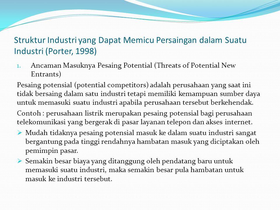 Elemen-elemen struktur industri yang akan mempengaruhi entry barriers: - Skala ekonomi - Kebijakan pemerintah - Harga pengganti 2.