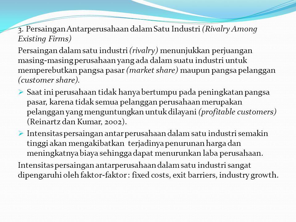 3. Persaingan Antarperusahaan dalam Satu Industri (Rivalry Among Existing Firms) Persaingan dalam satu industri (rivalry) menunjukkan perjuangan masin