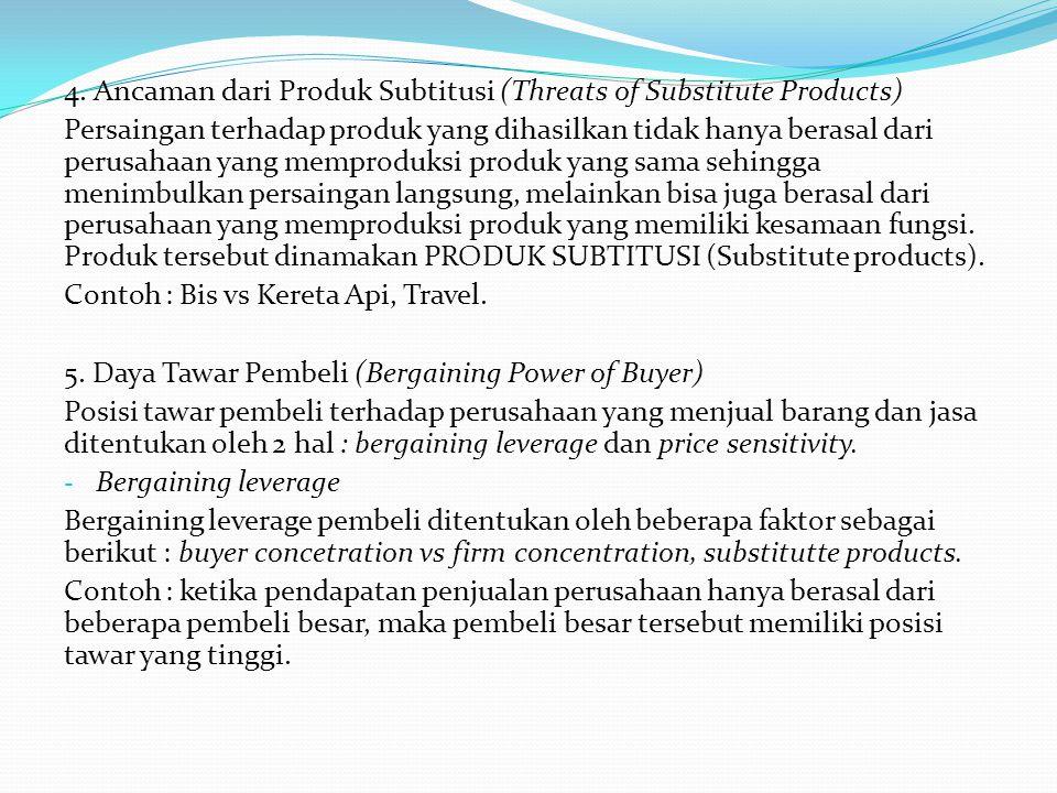 4. Ancaman dari Produk Subtitusi (Threats of Substitute Products) Persaingan terhadap produk yang dihasilkan tidak hanya berasal dari perusahaan yang