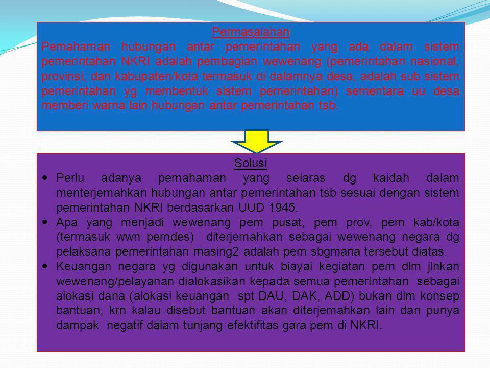 Permasalahan Pemahaman hubungan antar pemerintahan yang ada dalam sistem pemerintahan NKRI adalah pembagian wewenang (pemerintahan nasional, provinsi,
