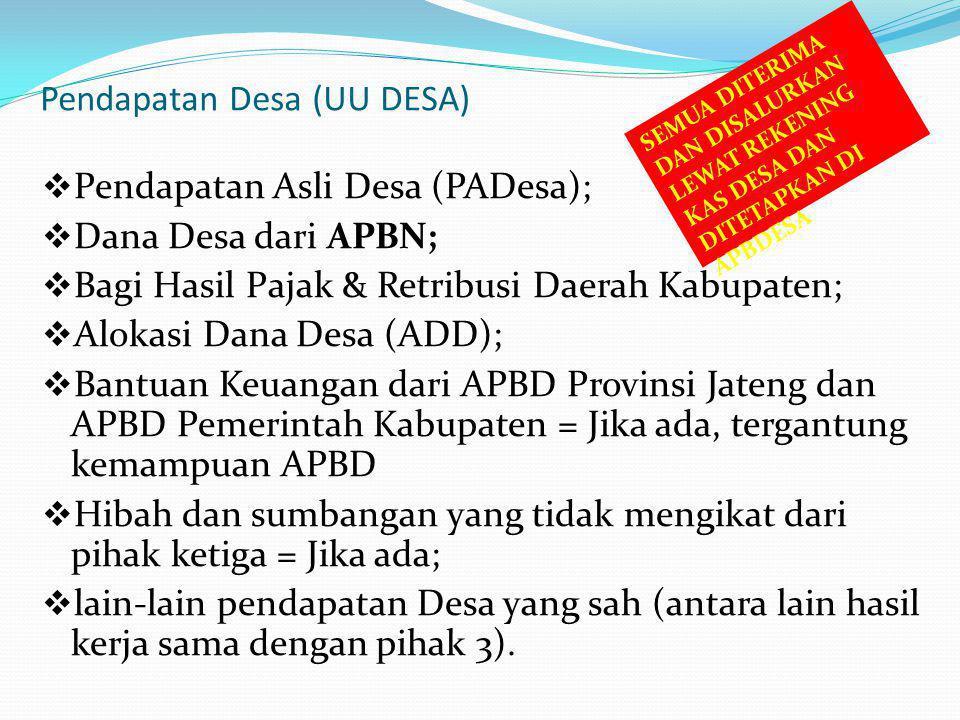 Pendapatan Desa (UU DESA)  Pendapatan Asli Desa (PADesa);  Dana Desa dari APBN;  Bagi Hasil Pajak & Retribusi Daerah Kabupaten;  Alokasi Dana Desa