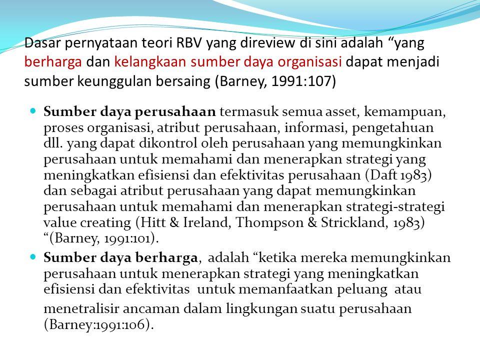 """Dasar pernyataan teori RBV yang direview di sini adalah """"yang berharga dan kelangkaan sumber daya organisasi dapat menjadi sumber keunggulan bersaing"""