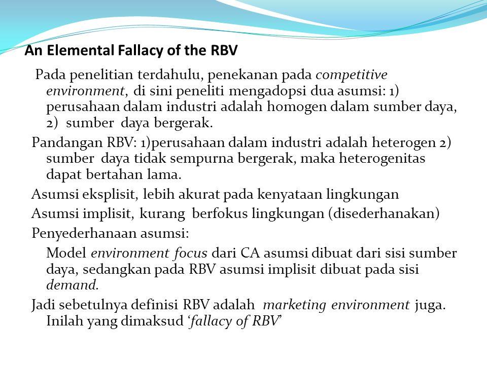 An Elemental Fallacy of the RBV Pada penelitian terdahulu, penekanan pada competitive environment, di sini peneliti mengadopsi dua asumsi: 1) perusaha