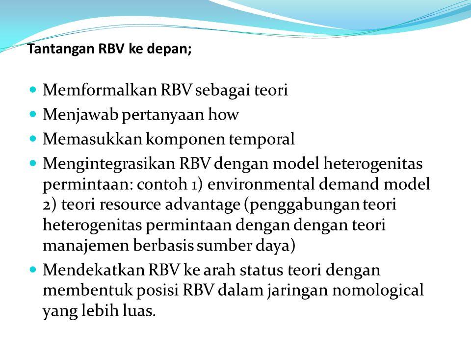 Tantangan RBV ke depan; Memformalkan RBV sebagai teori Menjawab pertanyaan how Memasukkan komponen temporal Mengintegrasikan RBV dengan model heteroge