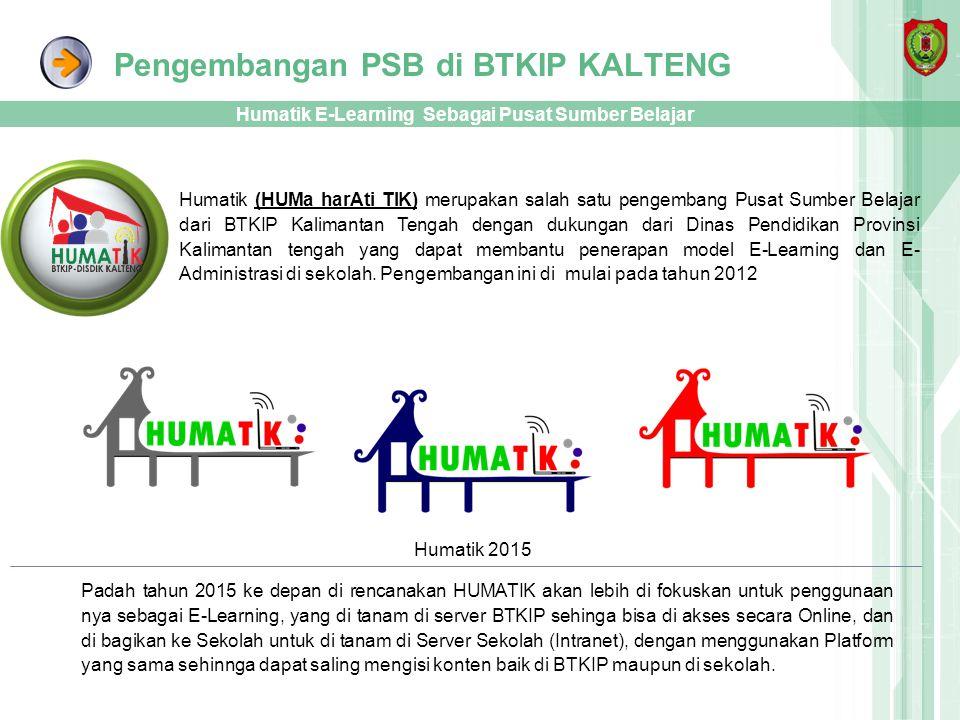 Pengembangan PSB di BTKIP KALTENG Humatik E-Learning Sebagai Pusat Sumber Belajar Humatik (HUMa harAti TIK) merupakan salah satu pengembang Pusat Sumb