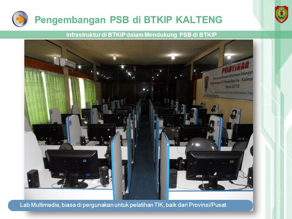 Pengembangan PSB di BTKIP KALTENG Infrastruktur di BTKIP dalam Mendukung PSB di BTKIP Lab Multimedia, biasa di pergunakan untuk pelatihan TIK, baik da
