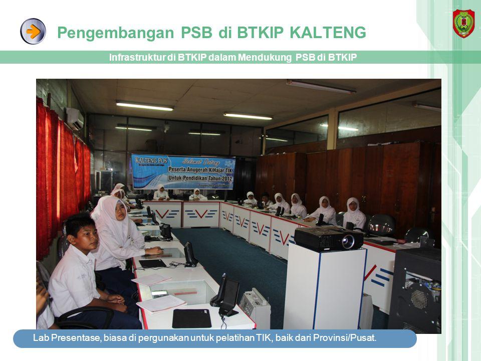 Pengembangan PSB di BTKIP KALTENG Infrastruktur di BTKIP dalam Mendukung PSB di BTKIP Lab Presentase, biasa di pergunakan untuk pelatihan TIK, baik da