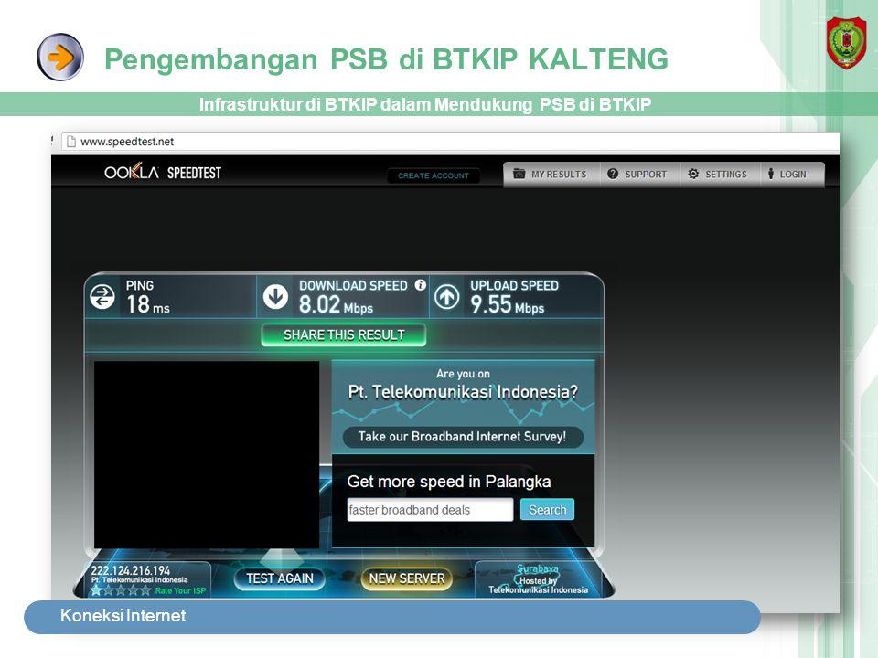 Pengembangan PSB di BTKIP KALTENG Infrastruktur di BTKIP dalam Mendukung PSB di BTKIP Koneksi Internet