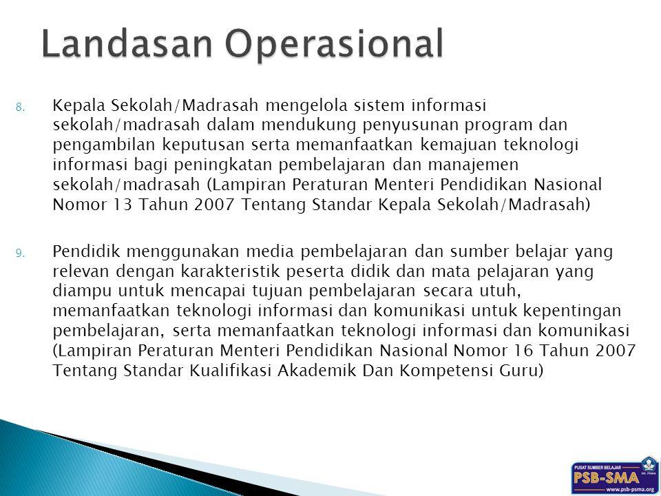 8. Kepala Sekolah/Madrasah mengelola sistem informasi sekolah/madrasah dalam mendukung penyusunan program dan pengambilan keputusan serta memanfaatkan