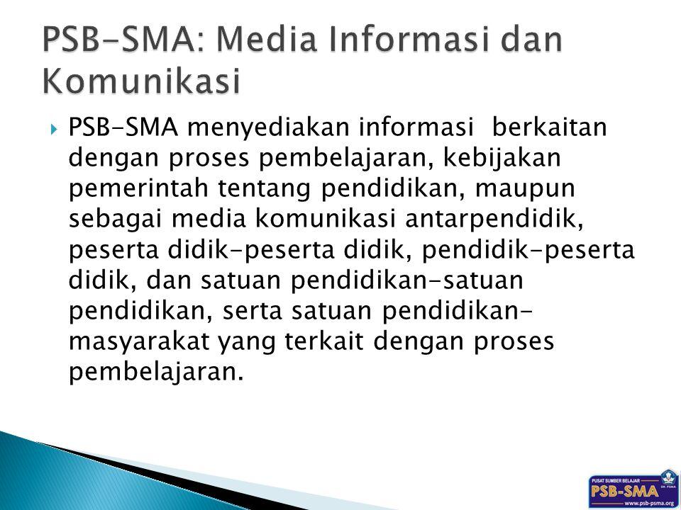 PSB-SMA menyediakan informasi berkaitan dengan proses pembelajaran, kebijakan pemerintah tentang pendidikan, maupun sebagai media komunikasi antarpe