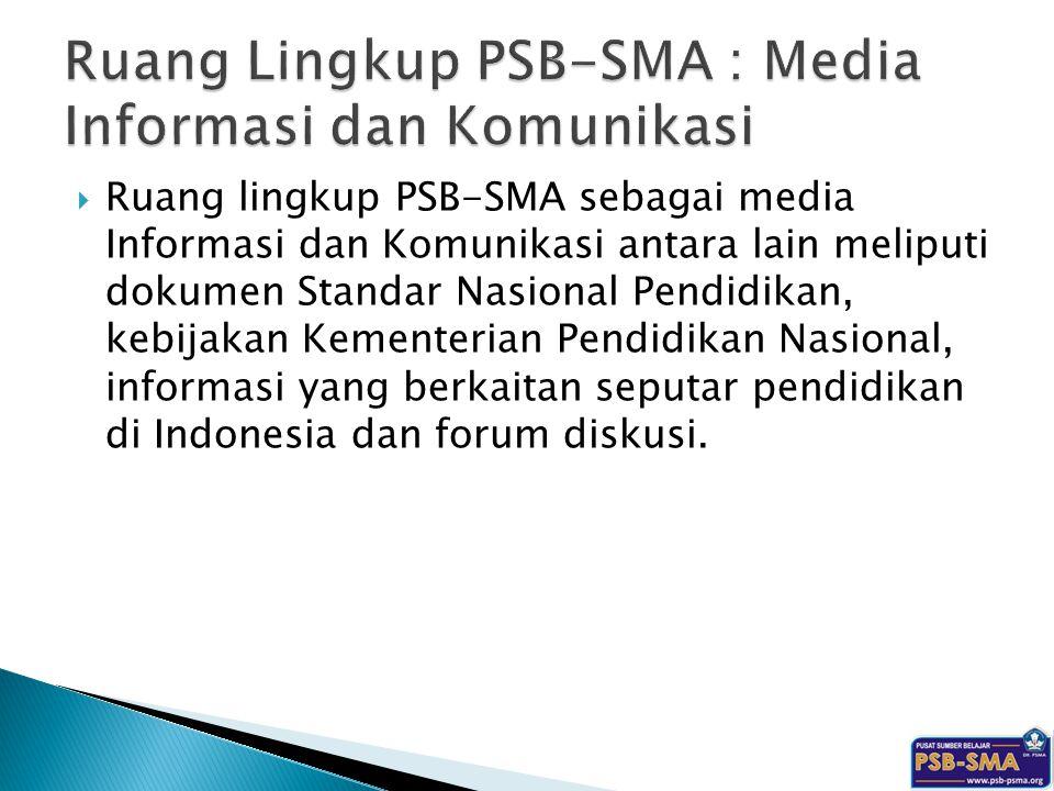  Ruang lingkup PSB-SMA sebagai media Informasi dan Komunikasi antara lain meliputi dokumen Standar Nasional Pendidikan, kebijakan Kementerian Pendidi