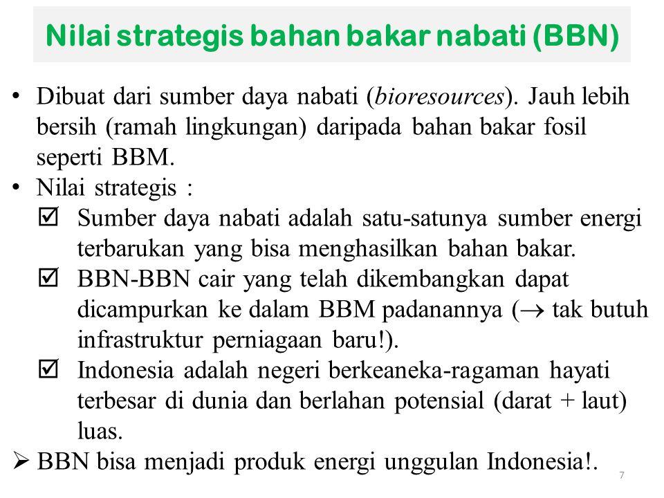 Nilai strategis bahan bakar nabati (BBN) Dibuat dari sumber daya nabati (bioresources). Jauh lebih bersih (ramah lingkungan) daripada bahan bakar fosi