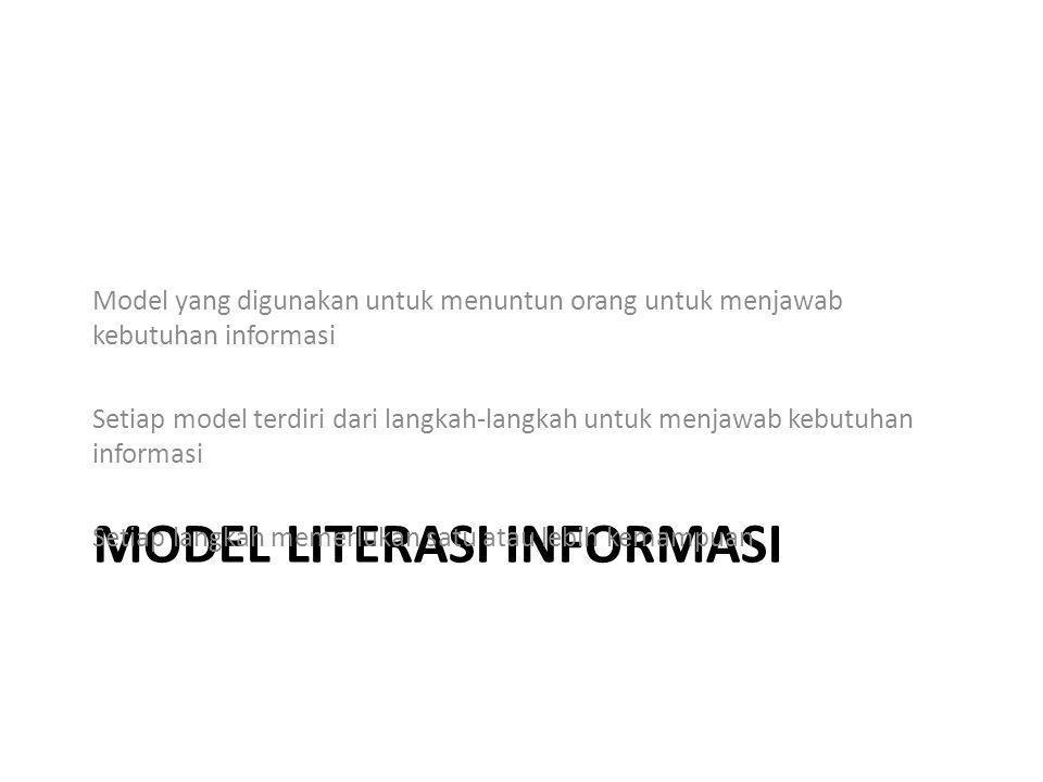 MODEL LITERASI INFORMASI Model yang digunakan untuk menuntun orang untuk menjawab kebutuhan informasi Setiap model terdiri dari langkah-langkah untuk