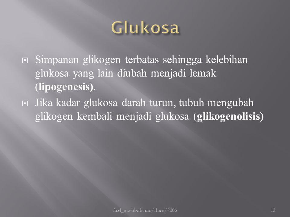  Simpanan glikogen terbatas sehingga kelebihan glukosa yang lain diubah menjadi lemak (lipogenesis).  Jika kadar glukosa darah turun, tubuh mengubah