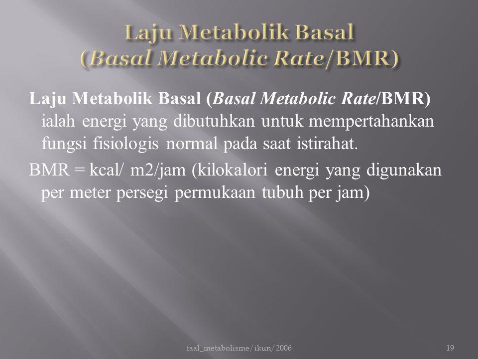 Laju Metabolik Basal (Basal Metabolic Rate/BMR) ialah energi yang dibutuhkan untuk mempertahankan fungsi fisiologis normal pada saat istirahat. BMR =