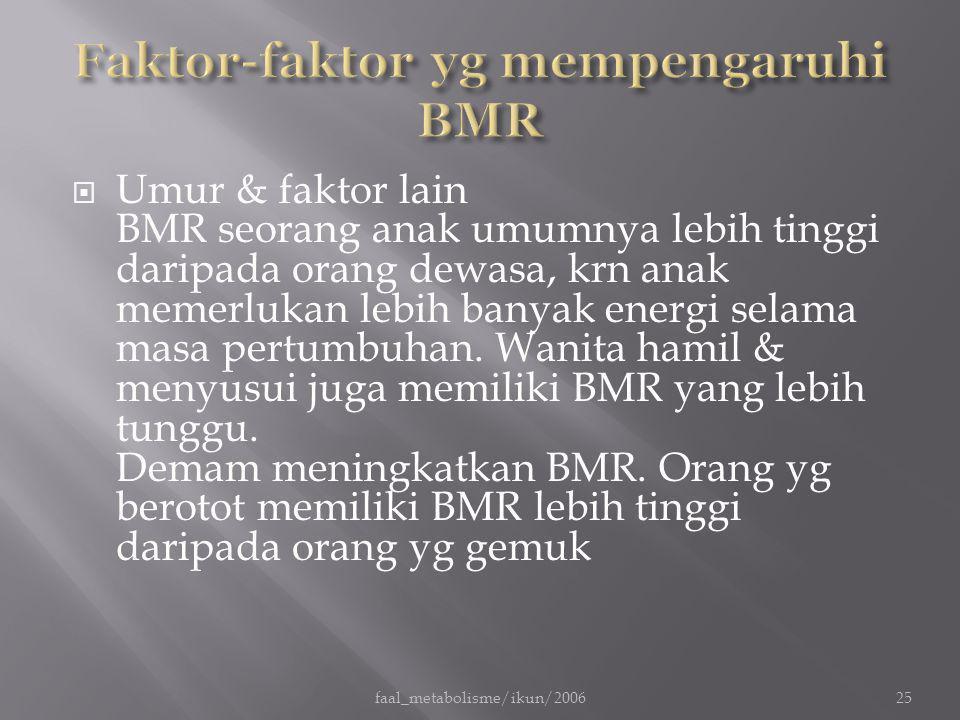  Umur & faktor lain BMR seorang anak umumnya lebih tinggi daripada orang dewasa, krn anak memerlukan lebih banyak energi selama masa pertumbuhan. Wan