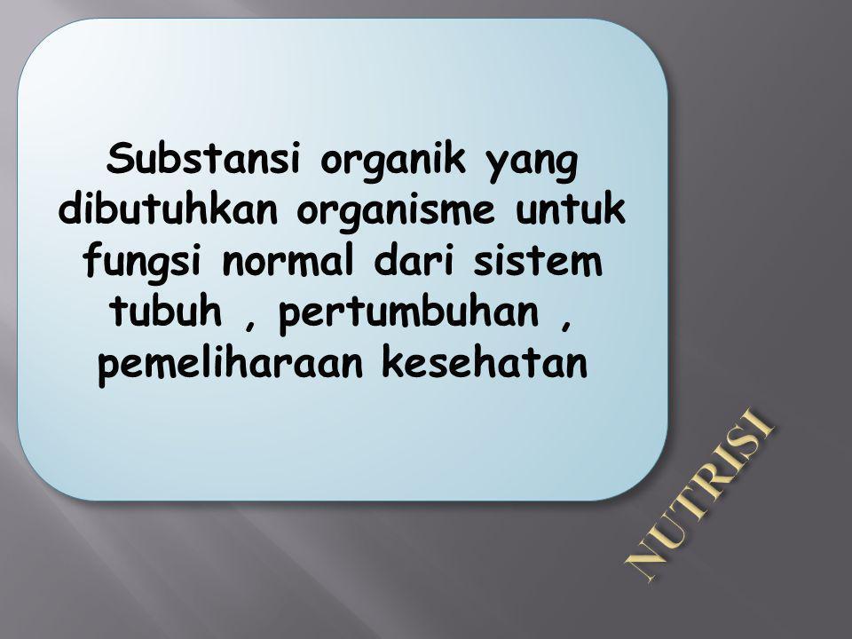 Substansi organik yang dibutuhkan organisme untuk fungsi normal dari sistem tubuh, pertumbuhan, pemeliharaan kesehatan