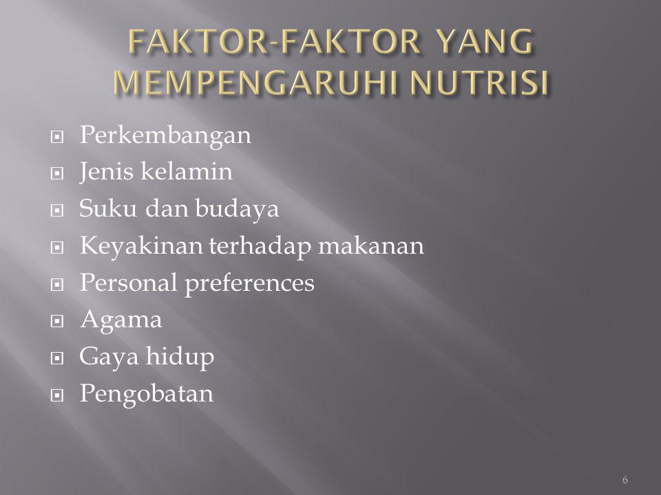  Perkembangan  Jenis kelamin  Suku dan budaya  Keyakinan terhadap makanan  Personal preferences  Agama  Gaya hidup  Pengobatan 6