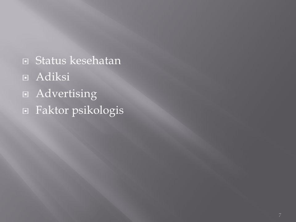  Status kesehatan  Adiksi  Advertising  Faktor psikologis 7
