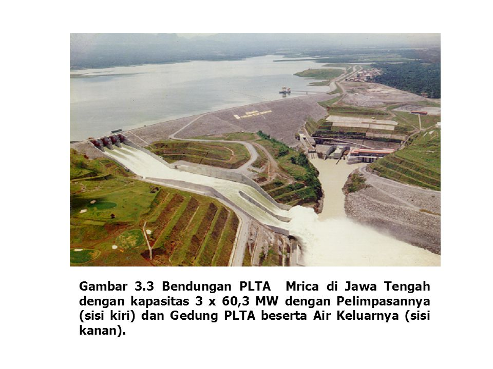 Gambar 3.3 Bendungan PLTA Mrica di Jawa Tengah dengan kapasitas 3 x 60,3 MW dengan Pelimpasannya (sisi kiri) dan Gedung PLTA beserta Air Keluarnya (si