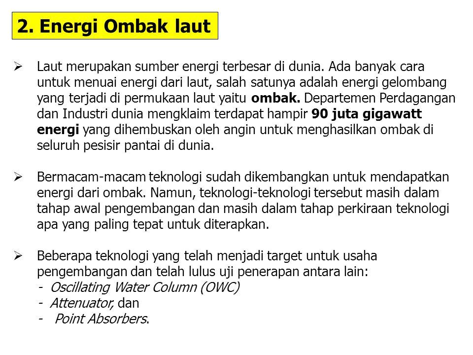 2.Energi Ombak laut  Laut merupakan sumber energi terbesar di dunia.