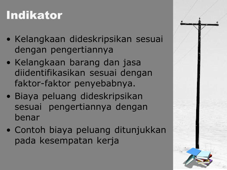 Indikator Kelangkaan dideskripsikan sesuai dengan pengertiannya Kelangkaan barang dan jasa diidentifikasikan sesuai dengan faktor-faktor penyebabnya.