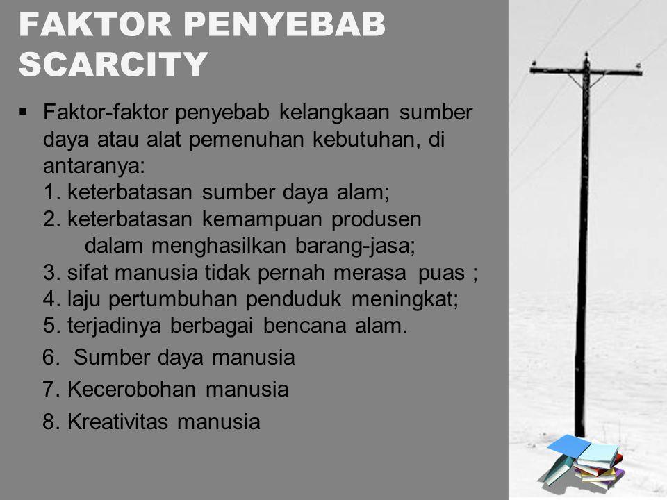 FAKTOR PENYEBAB SCARCITY  Faktor-faktor penyebab kelangkaan sumber daya atau alat pemenuhan kebutuhan, di antaranya: 1. keterbatasan sumber daya alam