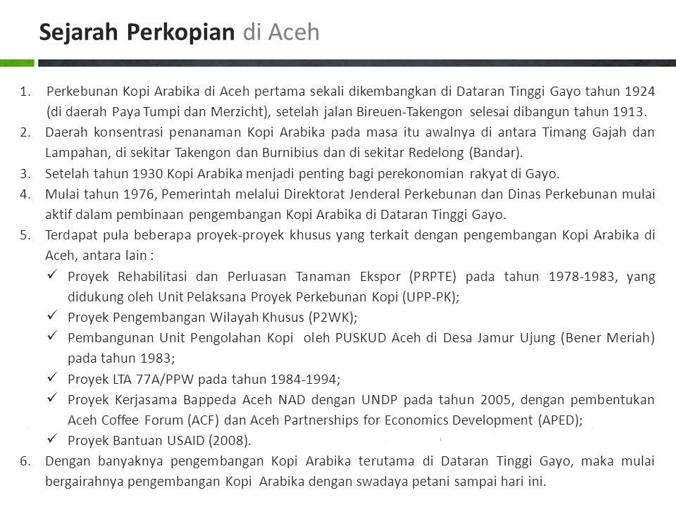 1.Perkebunan Kopi Arabika di Aceh pertama sekali dikembangkan di Dataran Tinggi Gayo tahun 1924 (di daerah Paya Tumpi dan Merzicht), setelah jalan Bir