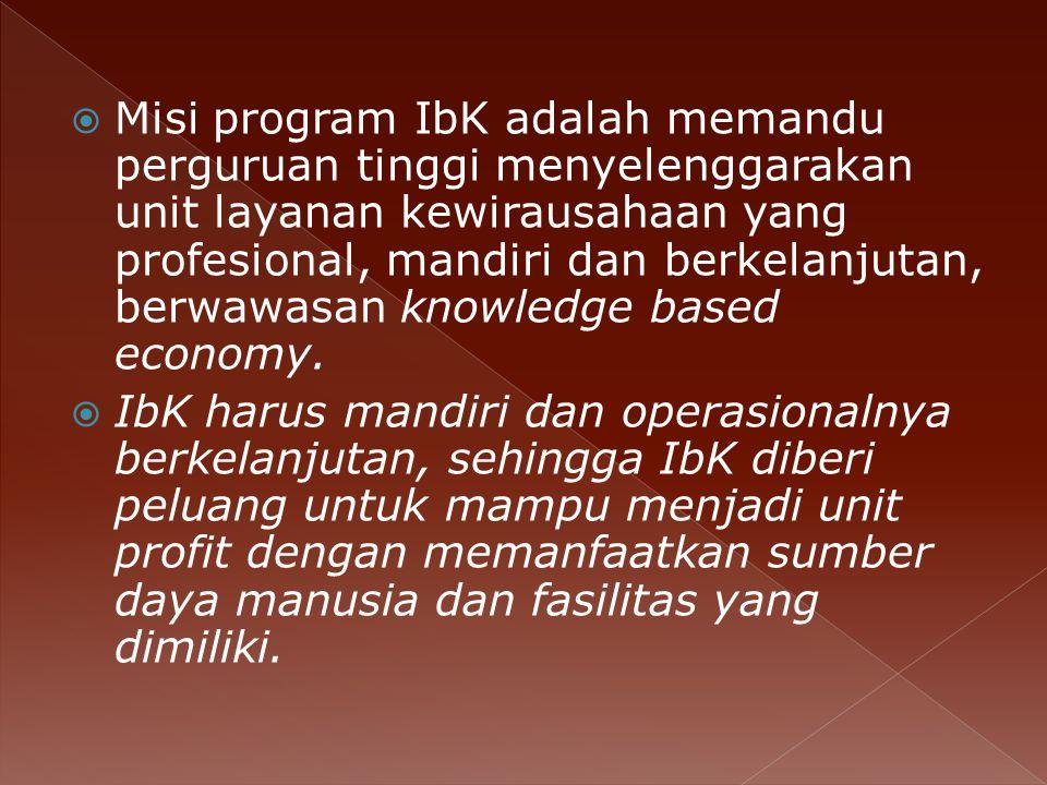  Misi program IbK adalah memandu perguruan tinggi menyelenggarakan unit layanan kewirausahaan yang profesional, mandiri dan berkelanjutan, berwawasan knowledge based economy.
