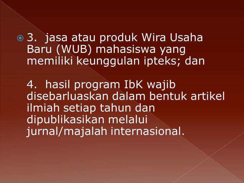  3.jasa atau produk Wira Usaha Baru (WUB) mahasiswa yang memiliki keunggulan ipteks; dan 4.