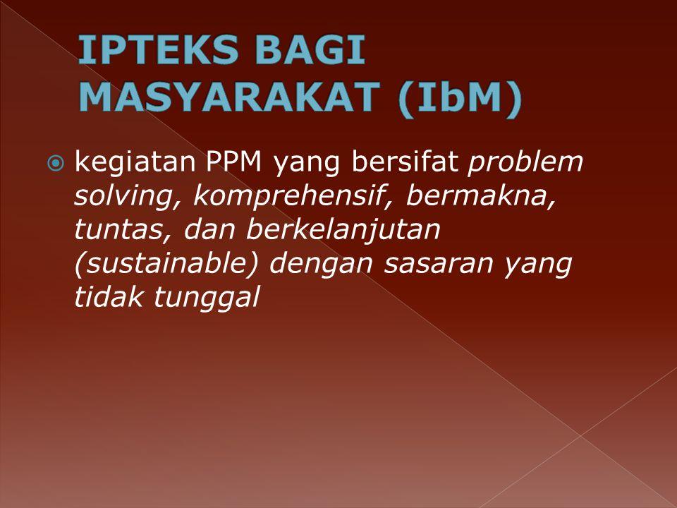  kegiatan PPM yang bersifat problem solving, komprehensif, bermakna, tuntas, dan berkelanjutan (sustainable) dengan sasaran yang tidak tunggal