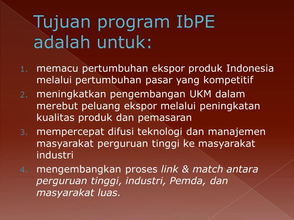 1.memacu pertumbuhan ekspor produk Indonesia melalui pertumbuhan pasar yang kompetitif 2.