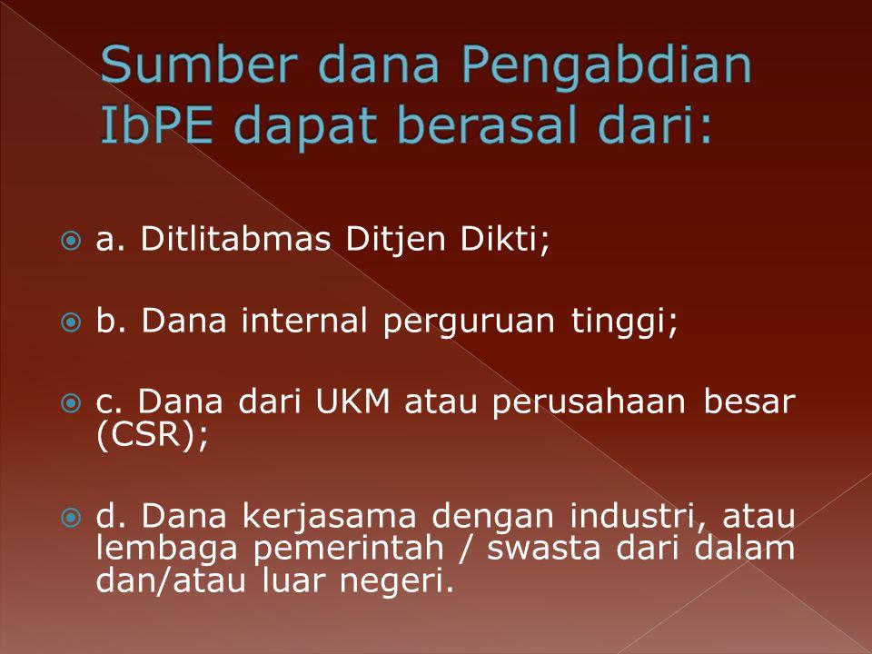  a.Ditlitabmas Ditjen Dikti;  b. Dana internal perguruan tinggi;  c.