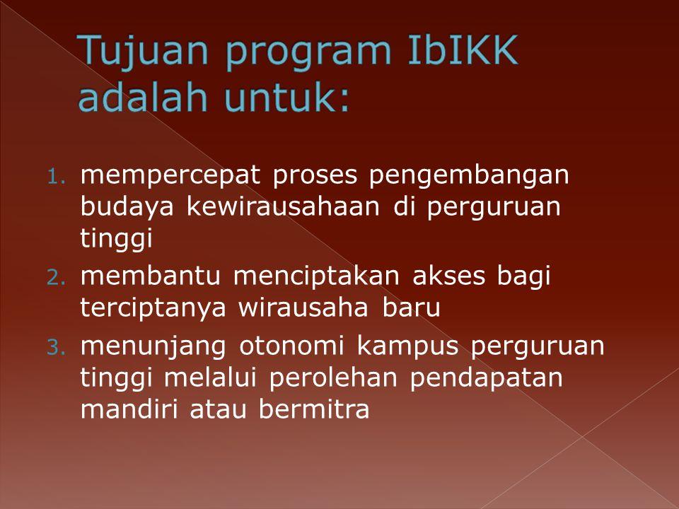 1.mempercepat proses pengembangan budaya kewirausahaan di perguruan tinggi 2.