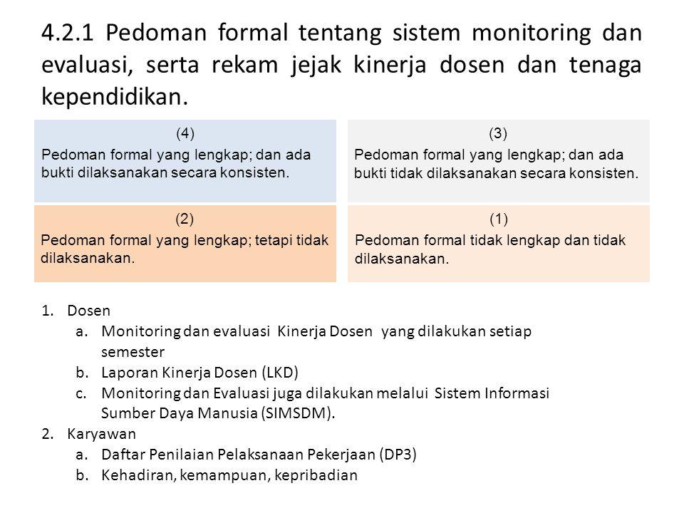 4.2.1 Pedoman formal tentang sistem monitoring dan evaluasi, serta rekam jejak kinerja dosen dan tenaga kependidikan. (4) Pedoman formal yang lengkap;